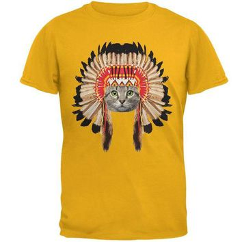 LMFCY8 Thanksgiving Funny Cat Native American Gold Adult T-Shirt