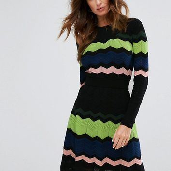 M Missoni Long Sleeved Zig Zag Wool Mix Knitted Dress at asos.com