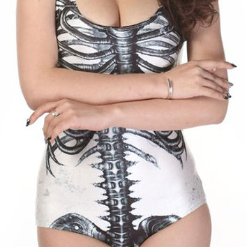 Skeleton Print One-Piece Swimwear