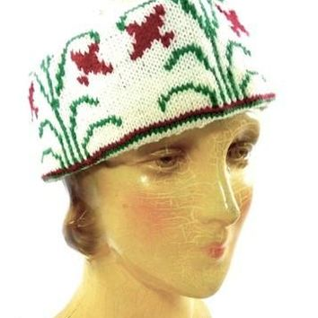Vintage Arts & Crafts Era Hand Knit Wool Hat Cap Floral Pattern Mens Womens