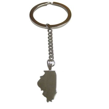 Illinois State Map Shape Pendant Keychain