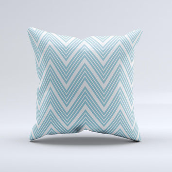 Three-Lined Blue & White Chevron Pattern Ink-Fuzed Decorative Throw Pillow