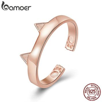 BAMOER 925 Sterling Silver Cat Ears Rose Gold Color Animal Ears Shape Adjustable Finger Rings Party Wedding Jewelry SCR387-3