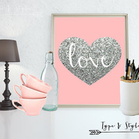 Silver glitter Love Filled Heart - Art - Canvas - Poster - Print - Typography - wall art home decor - framed art - Digital Download files