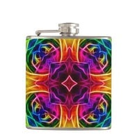 Rainbow Rose Kaleidoscope Hip Flask