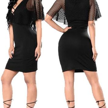 Black Plain Cut Out Grenadine Cap Sleeve Lace-up Homecoming Bodycon Mini Dress