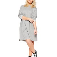 Plus Size Grey Dress with Roll Sleeves