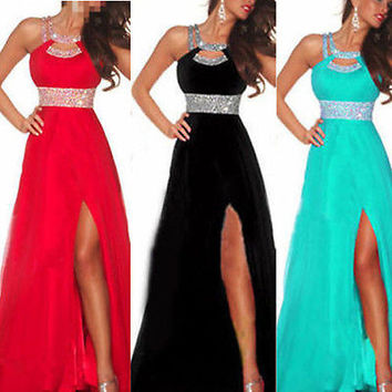 2017 New Arrival Women Long Sexy Dress Sequined Strappy Dress  Ball Prom Gown Formal Bridesmaid Low Cut  Chiffon Dress