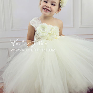 Oh Sweet Ivory Tutu Dress- flower girl, dress, birthday, toddler, fall, Christmas, vintage, girl, pageant dress, wedding, white, flowers