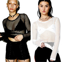 Women Sexy Fishnet Sheer Shirt Casual Hollow Long Sleeve O Neck Fashion Visible Loose Summer Fashion Mesh Tops T Shirt