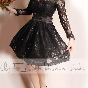 Lace short/ black /Wedding party /reception/  dress / long  Sleeves/ Bridal Gown