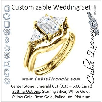 CZ Wedding Set, featuring The Prisma engagement ring (Classic Three-Stone Triangle Accent and Emerald Cut center)