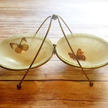 Vintage Fiberglass Bowls and Caddy - Butterfly Gold Stripe - Condiment Caddy - Nut Bowls - Mid Century Style - Snack Server - Brass Metal