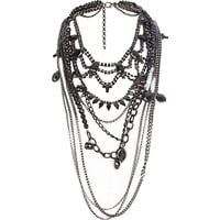River Island Womens Black embellished draped statement necklace