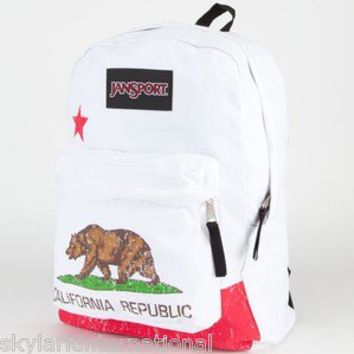 TB93 JANSPORT CA California Republic Bear Backpack Bookbag Bag Unique White