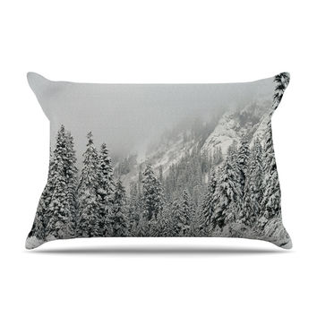 "Robin Dickinson ""Winter Wonderland"" White Gray Pillow Case"