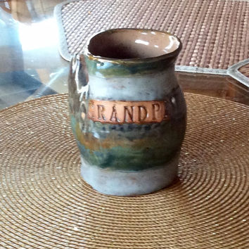 Grandpa mug, right hand warmer mug, cold drink mug, freezer, dishwasher, microwave safe, beautiful mug.