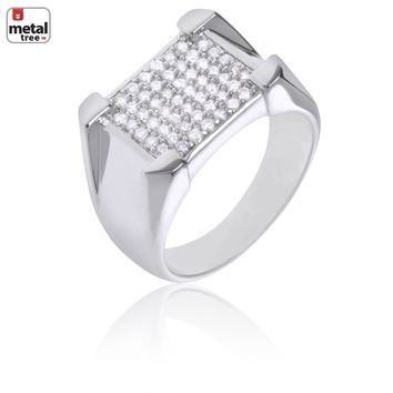 Jewelry Kay style Men's Hip Hop Iced Out Brass RH Plated Hand Set CZ Rectangle Square Pinky Ring