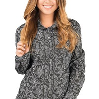 Panhandle Women's Black & White Paisley Print Long Sleeve Western Shirt