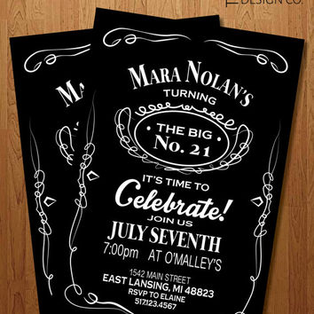 Printable Invitation - 21st Birthday  -  bachelor party - Jack Daniel's - Guy Birthday