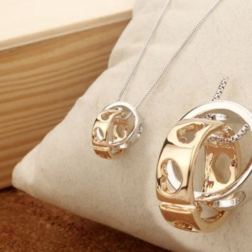 """Cartier""Female double loop ring necklace pendant fashion contracted joker collarbone chain"