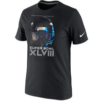 Nike Denver Broncos vs. Seattle Seahawks Super Bowl XLVIII Dueling Helmet Head To Head T-Shirt - Black