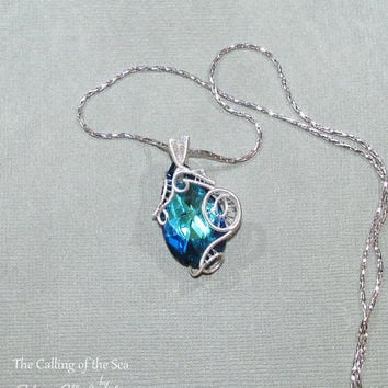 Calling of the Sea pendant, LOTR jewelry, LOTR pendant,  swarovski pendant, Fantasy jewelry, wire wrapped pendant