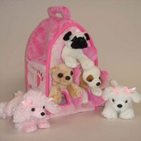 Plush Pink Dog House with Dogs - Five (5) Stuffed Animal Dogs in Pink Play Dog House Case