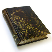 Large Leather Journal / Album - Vintage Style Paper - Victorian Black and Gold Design