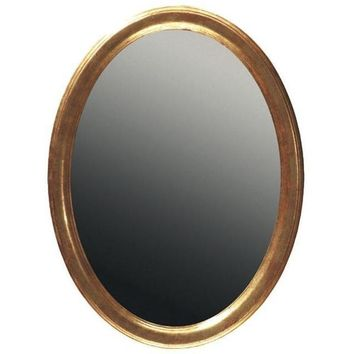 GM Luxury Chiusi Oval Decorative Wall Art Mirror for Elegant Design, Antique Gold Leaf 23x31