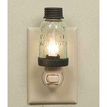 Set of 4 Mason Jar Night Lights - Rustic Brown