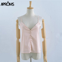 Aproms Elegant v neck Satin camisole tank top Casual summer backless buttons women tops Sexy sleeveless sleepwear camis 40622