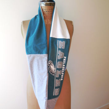 Philadelphia Eagles T Shirt Infinity Scarf / Green Gray White / Gift Under 50 / Cotton / Soft / Gift For Her / Recycled / Upcycled / ohzie