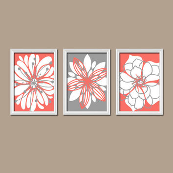 Genial Wall Art Canvas Artwork Coral Gray Flower Petal Burst Outline Dahlia Floral  Bloom Set Of 3