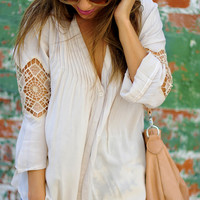 Pleated Peace Lace Top: Ivory | Hope's