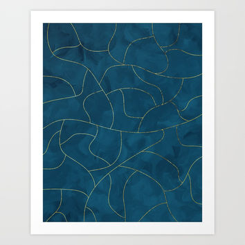 Textured blue & gold Art Print by vivigonzalezart