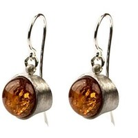 Honey Amber Fine Quality Sterling Silver Round Earrings