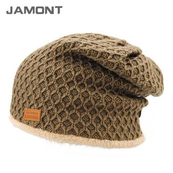 [JAMONT] 5 Solid Colors Thick Warm Baggy Beanies Men's Wool Feel Beanie Hats with Velvet Inside Z-3898