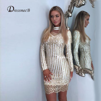 New arrival Christmas dress chic sequin dress gold elegant long sleeve royal fashion hollow out party dresses vestidos 2 color