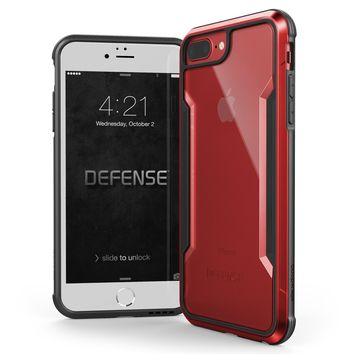 iPhone 8 Plus, iPhone 7 Plus, iPhone 6 Plus Case, X-Doria Defense Shield - Military Grade Drop Tested, Anodized Aluminum, TPU, Polycarbonate Protective Case for Apple iPhone 8,7,6 Plus (Red)