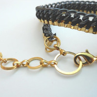 Gold and black chains wrap bracelet