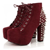 Burgundy Suede Style Spiked Ankle Boots   Buy Burgundy Suede Style Spiked Ankle Boots Online