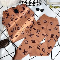 LV Louis Vuitton Autumn Winter Fashion Women Casual Jacquard Knit Long Sleeve Sweater Pants Set Two Piece Brown