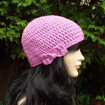 Orchid Crochet Hat - Womens Beanie with Bow - Ladies Winter Cap - Light Purple Ski Hat