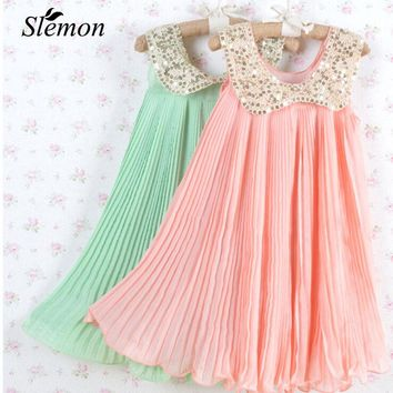 2018 Summer Girls Pleated Chiffon Dress Sequins Collar Children Clothes Loose Sleeveless Vest Dresses for Kids 3 5 7 9 12 Years