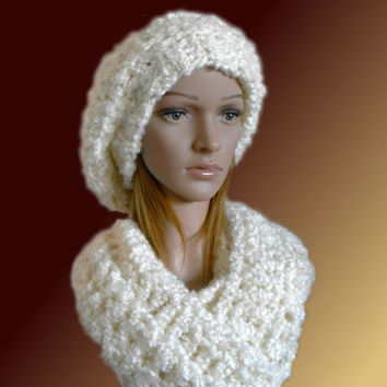 Womens HAT SCARF Sets Chunky Slouchy Hat & Matching Infinity Scarf Cowl Warm Softest Hat Ever Winter Infinity Luxury Knit Cream Best Gift