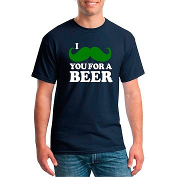 I Mustache You For A Beer Unisex Crew Neck T-Shirt