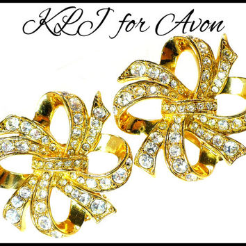 Large Rhinestone & Gold Earrings, KJL for AVON, Ear Climber Swirls, Pageant Jewelry Rockabilly Earrings Wedding Party Earrings, Gift For Her