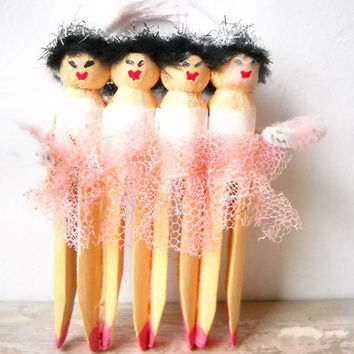 Ballerina Ornament, Clothespin Art Doll Assemblage, Pink and White Christmas Decoration