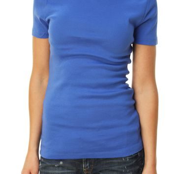 J. Crew Women's Short Sleeve Crew Neck Basic T-Shirt Blue